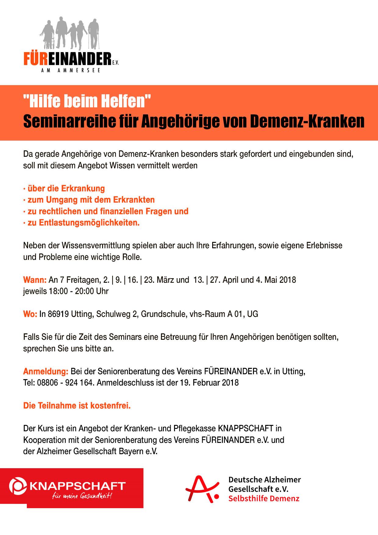 Seminar für Angehörige Demenzkranker