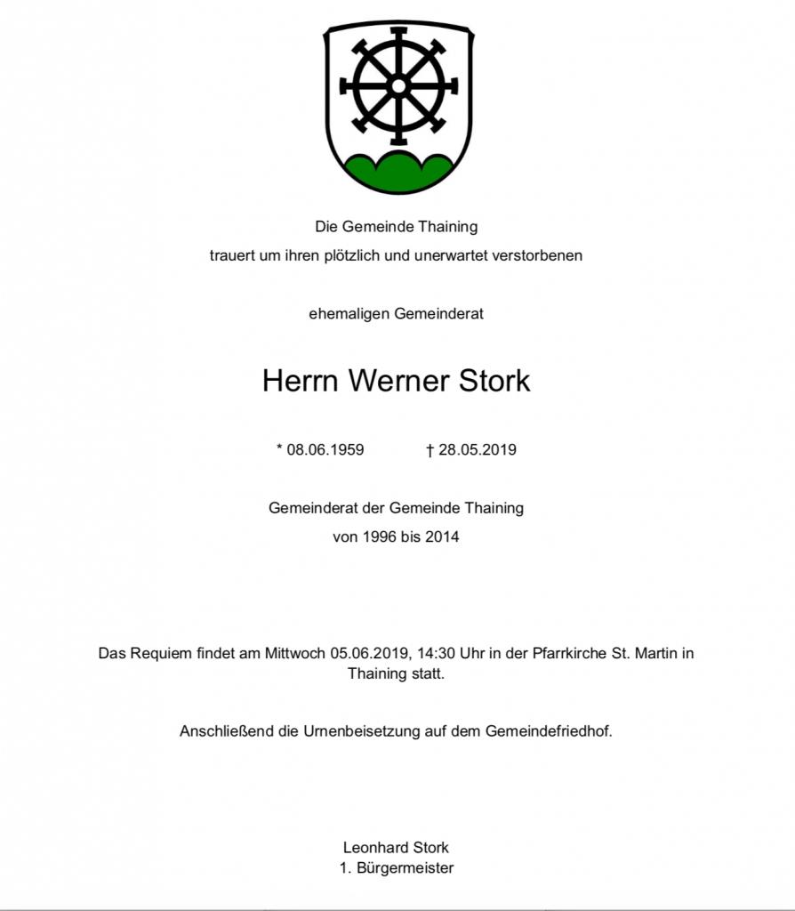 Traueranzeige Werner Stork
